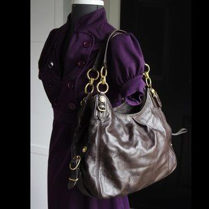 Coach Leather Hobo Bag Rich Brown Gold Maggie Mia